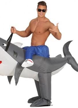 Disfraz Hinchable Jinete montando Tiburón para adultos