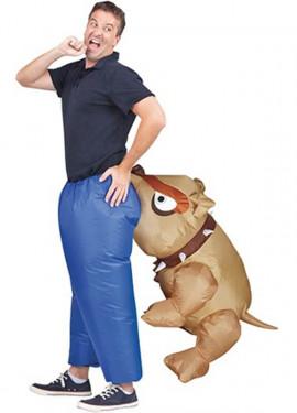 Disfraz Hinchable Perro Bulldog mordiendo para adultos