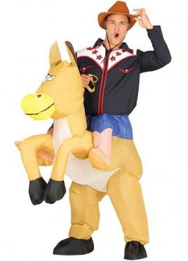 Disfraz Hinchable Vaquero montando Caballo para adultos