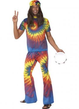 Disfraz Hippy Multicolor Tinte con Nudos para Hombre