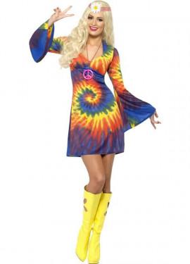 Disfraz Hippy Multicolor Tinte con Nudos para Mujer