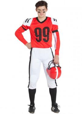 Disfraz Jugador de Rugby Rojo y Blanco para hombre