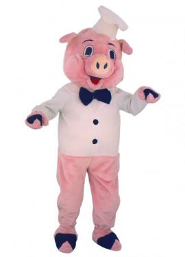 Disfraz Mascota Cerdito Cocinero para adultos