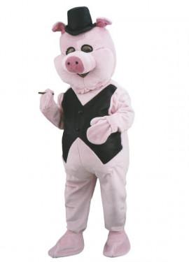 Disfraz Mascota Cerdito elegante para adultos
