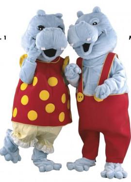 Disfraz Mascota Señor y Señora Hipopótamo para adultos