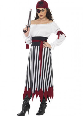 Disfraz Mujer Pirata con falda a rayas