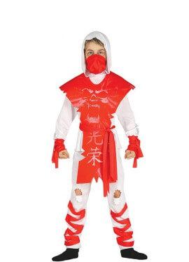 Disfraz Ninja Rojo y Blanco para niño