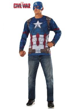 Disfraz o Camiseta de Capitán América para hombre