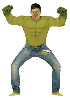 Disfraz o Camiseta de Héroe Musculoso verde para hombre