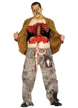 Disfraz o camiseta de Zombie destripado para hombre