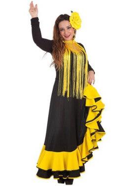 Disfraz o Falda Rociera amarilla para mujer