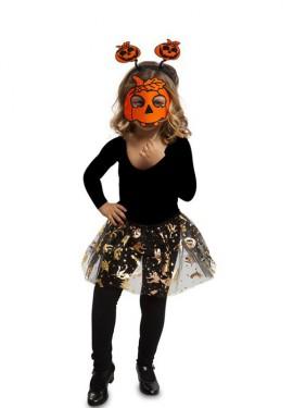 Disfraz o Kit Calabacita para niña: Diadema, Máscara y Tutú