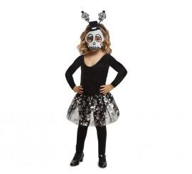 Disfraz o Kit Calavera para niña: Diadema, Máscara y Tutú