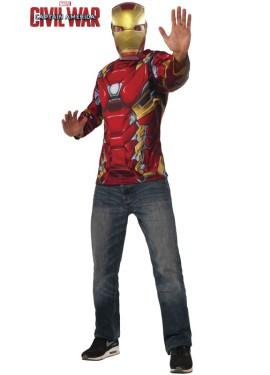 Disfraz o kit de Iron Man para hombre: Camiseta y Máscara