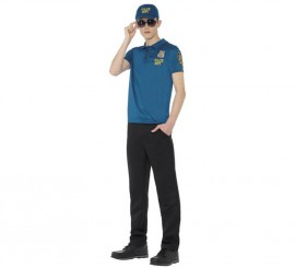 Disfraz o Kit de Policía para hombre: Camiseta, Gorra y gafas