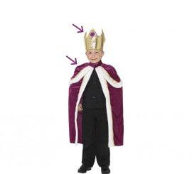 Disfraz o Kit de Rey Mago: Capa y Corona para niño