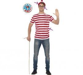 Disfraz o Kit Donde esta Wally?: Camiseta, Gorra y Gafas