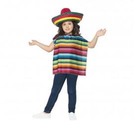 Disfraz o Kit Mexicano infantil: Poncho y Sombrero multicolor