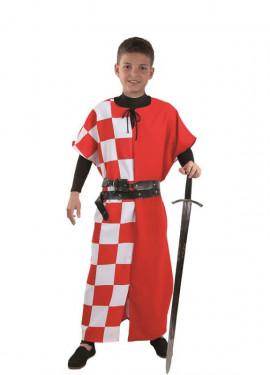 Costume da cavaliere medievale o tunica con plaid per bambini