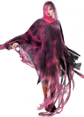Disfraz o Túnica de Espectro rosa y negra para adultos 160 cm