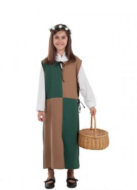Disfraz o Túnica Marrón y Verde Medieval para niña