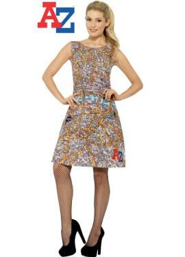 Disfraz o Vestido de la A-Z con Estampado de Planos para mujer