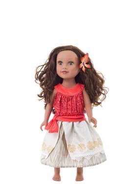 Disfraz o Vestido para muñeca de Princesa Polinesia con Flor