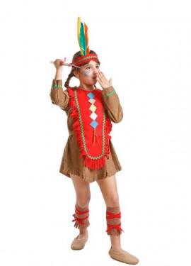 Disfraz para niñas de India marrón