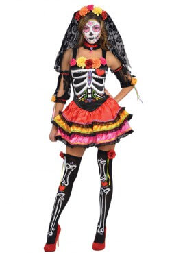 Disfraz Señorita Catrina con accesorios para mujeres