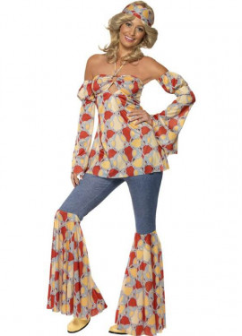 Disfraz Vintage Hippy de los 70s para Mujer