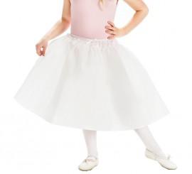 Falda o Enagua Blanco con vuelo para niña
