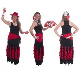 Jupe Flamenca Noire avec Ornements Rouges