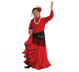 Falda Flamenca o Rociera roja para niña