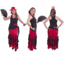 Falda flamenca roja con adornos negros