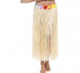 Falda Hawaiana Larga Beige con flores