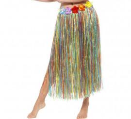 Hawaiana Falda Larga Multicolor Flores Con dUqqxST8w