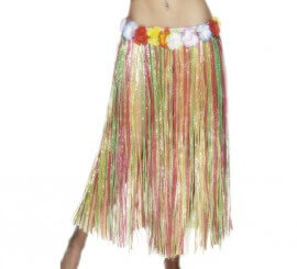 Falda Hawaiana Larga multicolor con flores 79cm