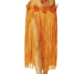 Falda Hawaiana Larga Naranja con flores 73 cm