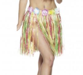Falda Hawaiana multicolor con flores 46cm