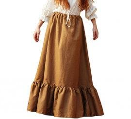 Falda Ocre con Volantes Medieval para mujer