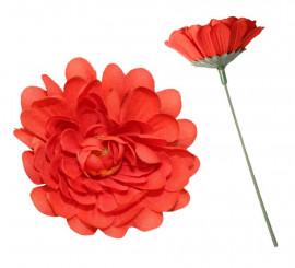 Flor Dalia Roja con tallo para Flamencas y Chulapas