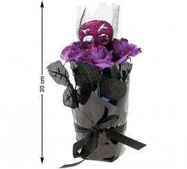 Fleur avec Tête de Mort Noire et Mauve de 20 cm