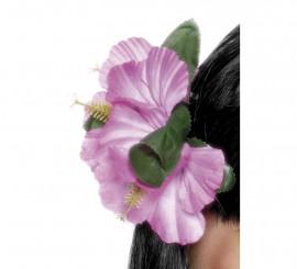 Flor Hawaiana rosa para el pelo con clip
