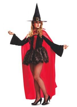 Disfraz de Bruja Roja con Capa para Mujer talla M-L