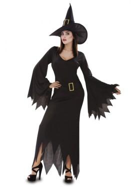 Disfraz de Bruja Negra para Mujer talla M-L para Halloween