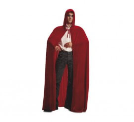 Capa con Capucha Roja de Terciopelo para Adulto
