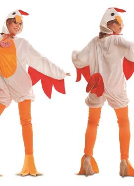 Disfraz de Gallina Blanca y Naranja para Mujer talla M-L