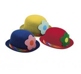 Bombín de Payaso con Flor en tres colores surtidos