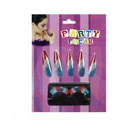 Set de Uñas y Pestañas postizas de tres colores