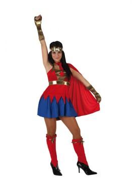 Disfraz de Super Heroína roja para mujer talla M-L
